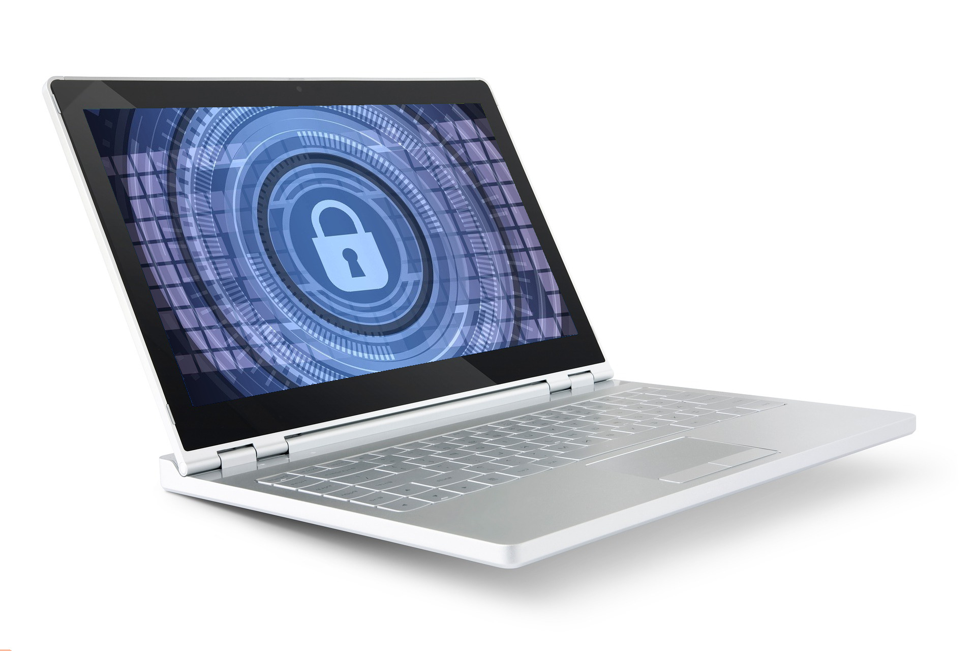 laptop on white background with security lock